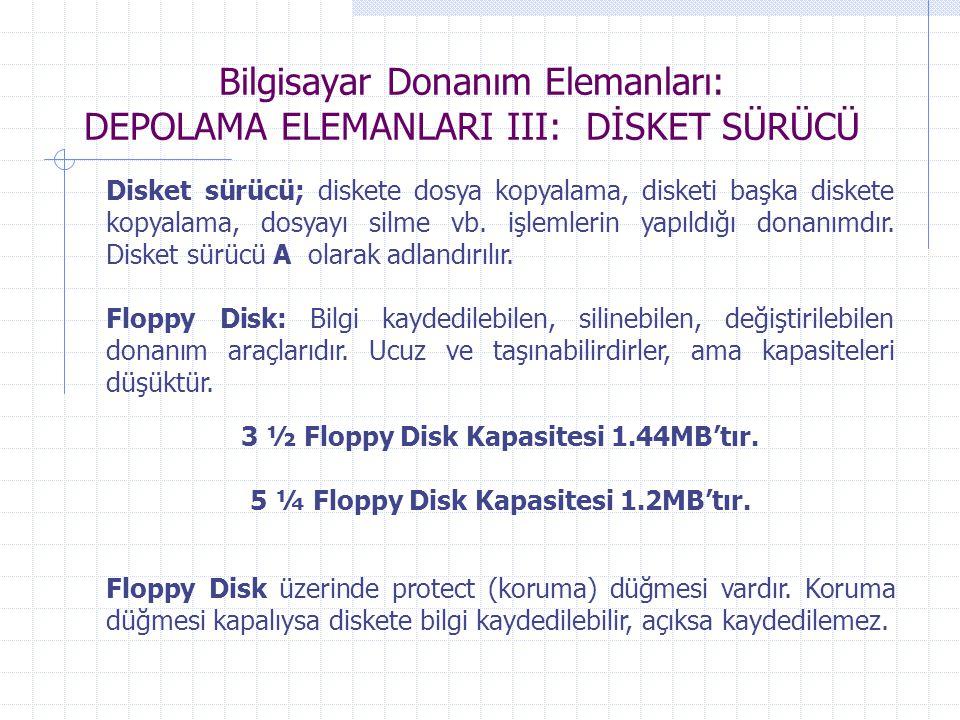 Bilgisayar Donanım Elemanları: DEPOLAMA ELEMANLARI III: DİSKET SÜRÜCÜ