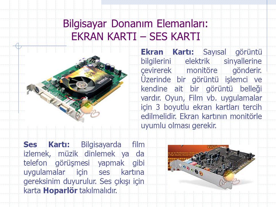 Bilgisayar Donanım Elemanları: EKRAN KARTI – SES KARTI