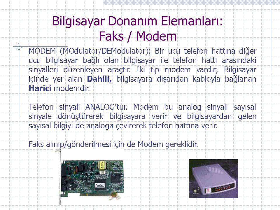 Bilgisayar Donanım Elemanları: Faks / Modem