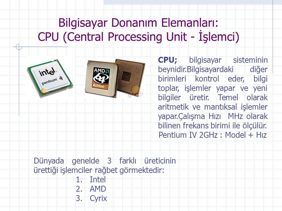 Bilgisayar Donanım Elemanları: CPU (Central Processing Unit - İşlemci)