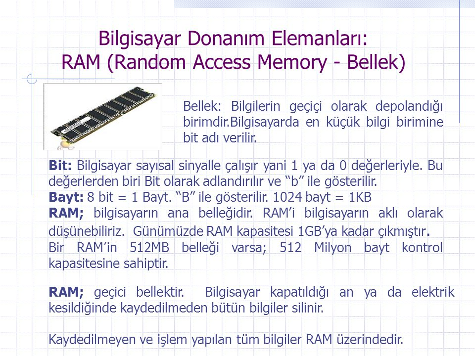 Bilgisayar Donanım Elemanları: RAM (Random Access Memory - Bellek)