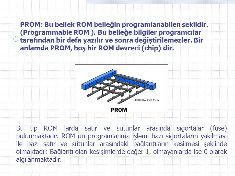 PROM: Bu bellek ROM belleğin programlanabilen şeklidir