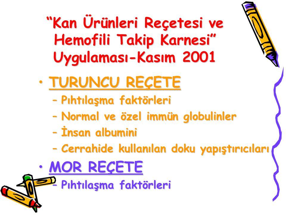 Kan Ürünleri Reçetesi ve Hemofili Takip Karnesi Uygulaması-Kasım 2001
