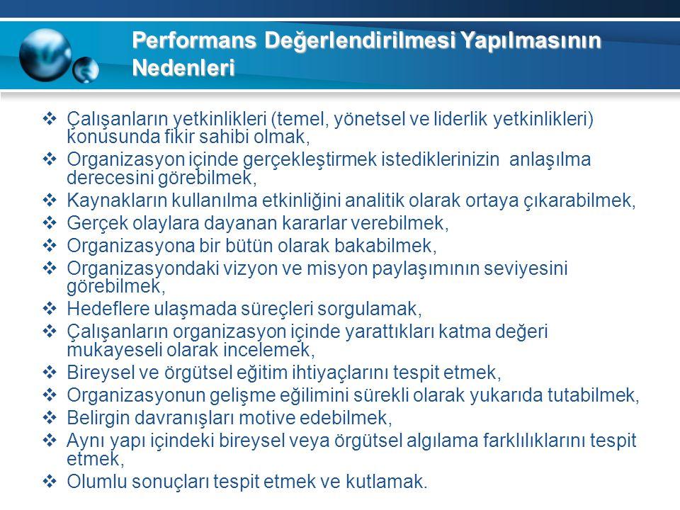 Performans Değerlendirilmesi Yapılmasının Nedenleri