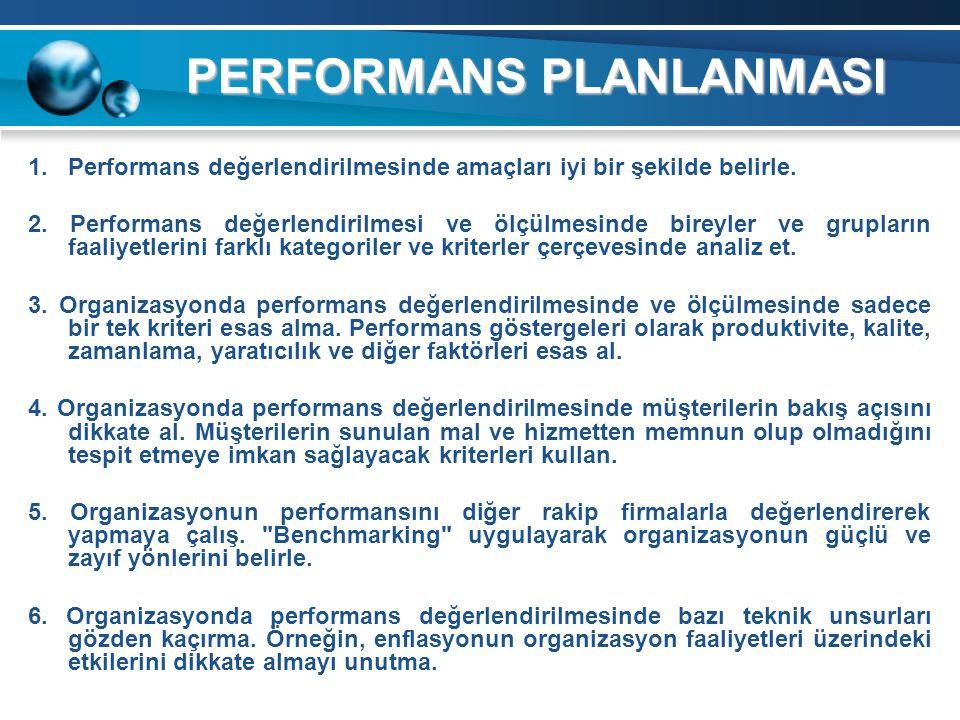 PERFORMANS PLANLANMASI