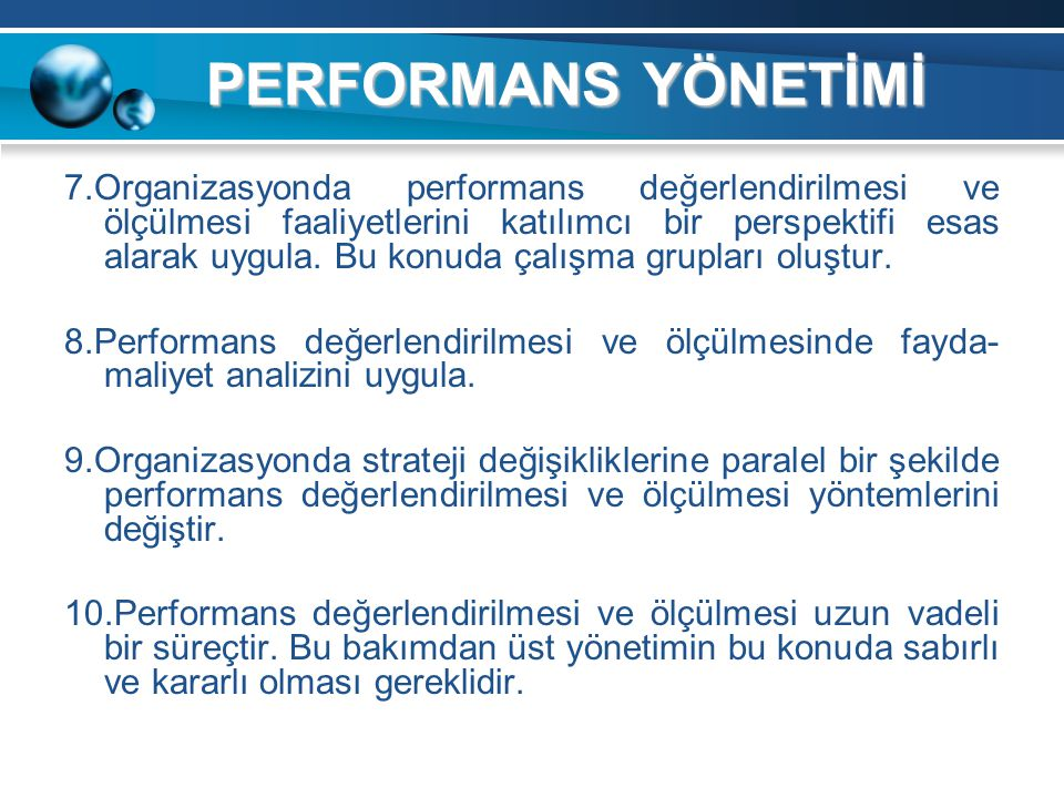 PERFORMANS YÖNETİMİ
