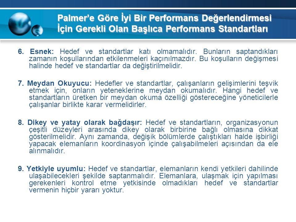 Palmer'e Göre İyi Bir Performans Değerlendirmesi İçin Gerekli Olan Başlıca Performans Standartları