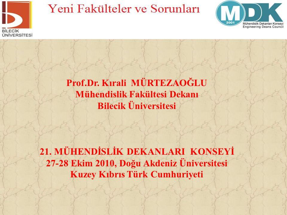 Prof.Dr. Kırali MÜRTEZAOĞLU Mühendislik Fakültesi Dekanı