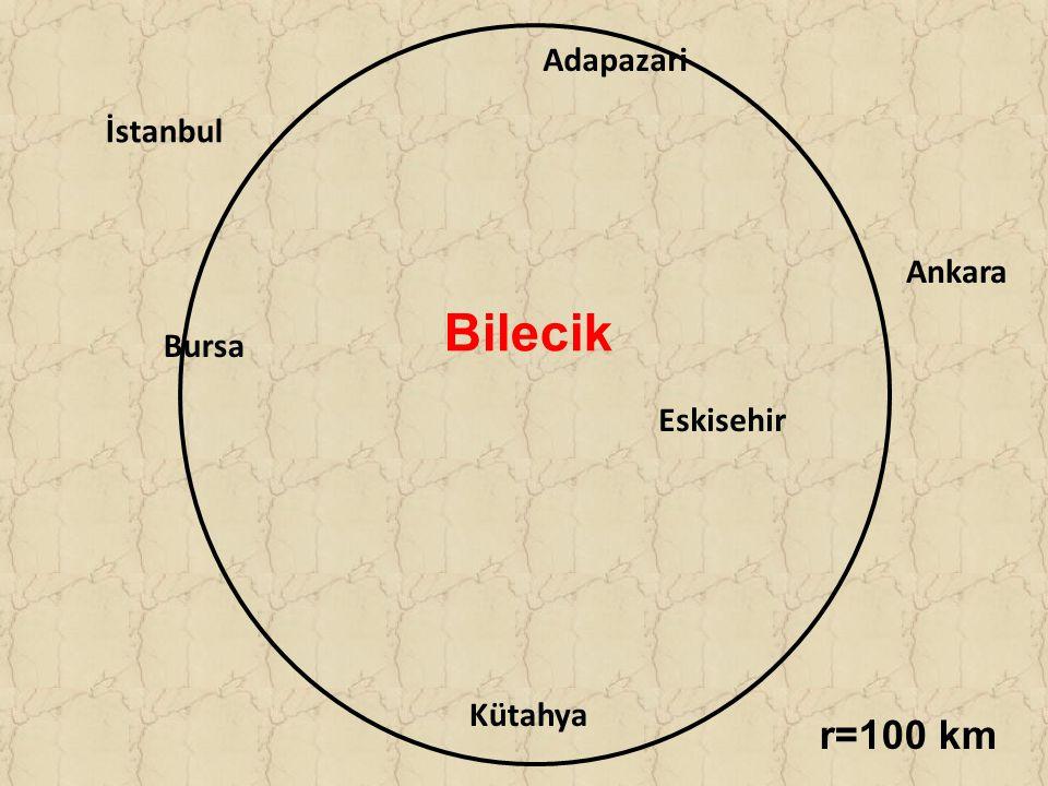 Adapazari İstanbul Ankara Bilecik Bursa Eskisehir Kütahya r=100 km