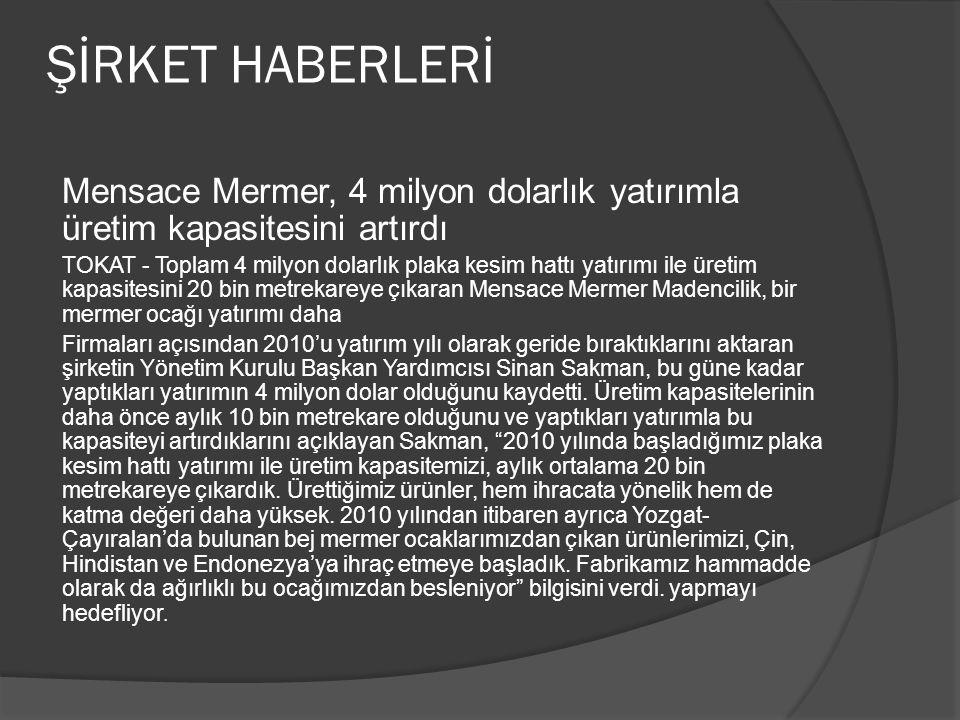 ŞİRKET HABERLERİ Mensace Mermer, 4 milyon dolarlık yatırımla üretim kapasitesini artırdı.