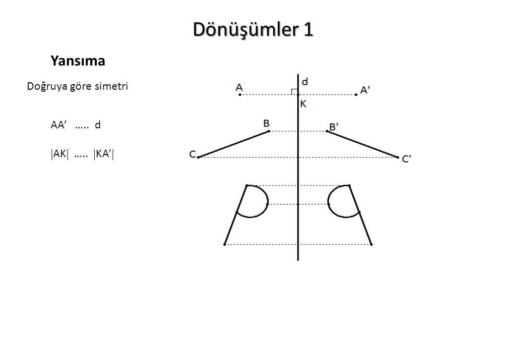 Dönüşümler 1 Yansıma Doğruya göre simetri AA' ….. d AK ….. KA'
