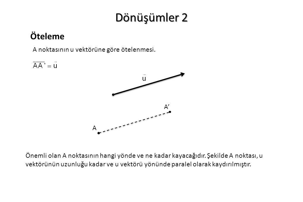 Dönüşümler 2 Öteleme A noktasının u vektörüne göre ötelenmesi. A' A