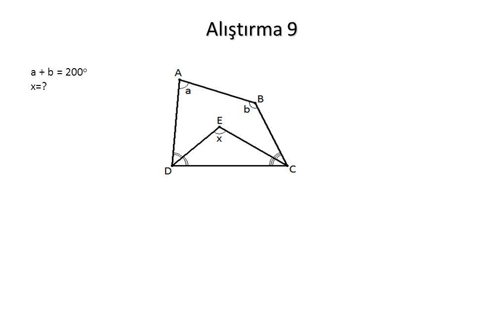 Alıştırma 9 a + b = 200o x=