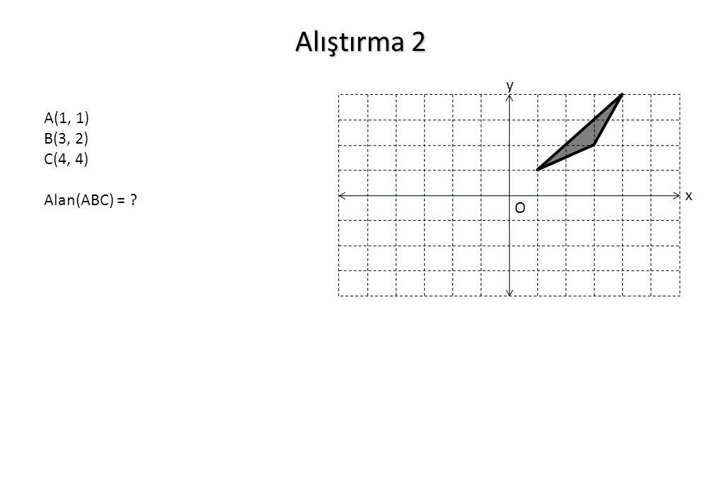 Alıştırma 2 y A(1, 1) B(3, 2) C(4, 4) Alan(ABC) = x O