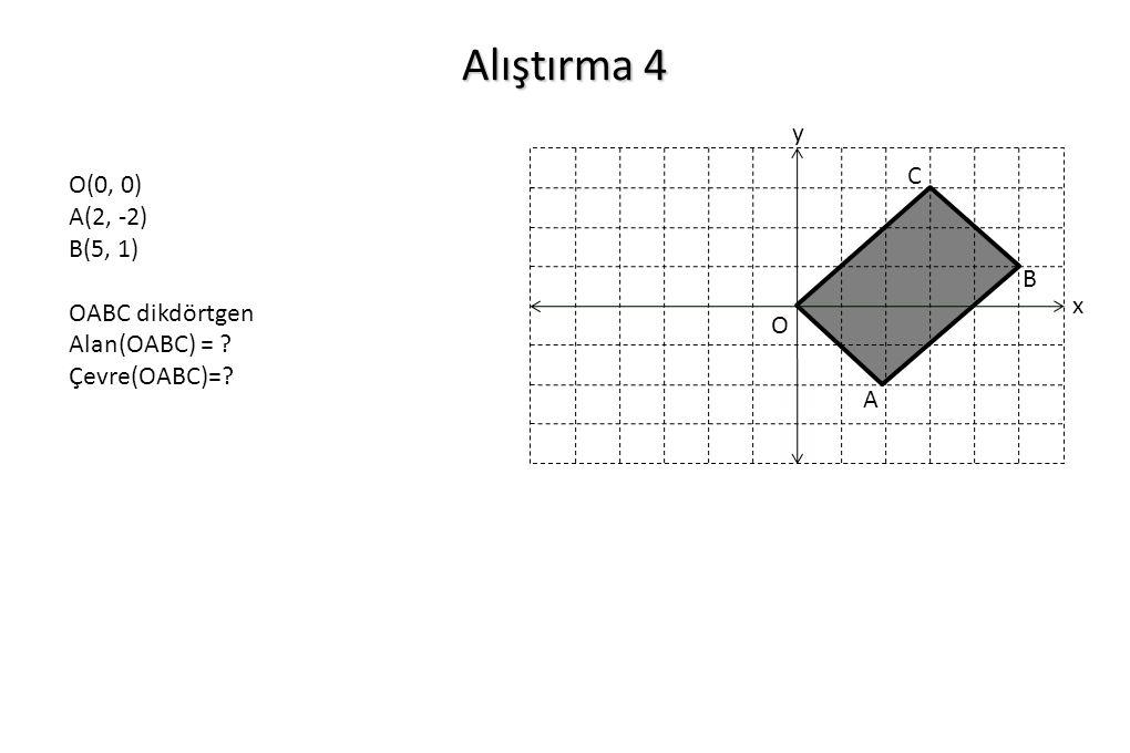 Alıştırma 4 y C O(0, 0) A(2, -2) B(5, 1) OABC dikdörtgen
