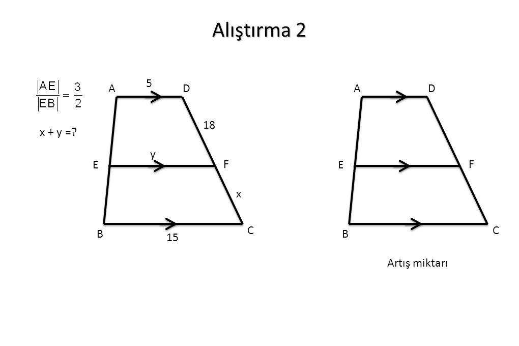 Alıştırma 2 A B C D F E 18 x 5 y 15 A B C D F E x + y = Artış miktarı