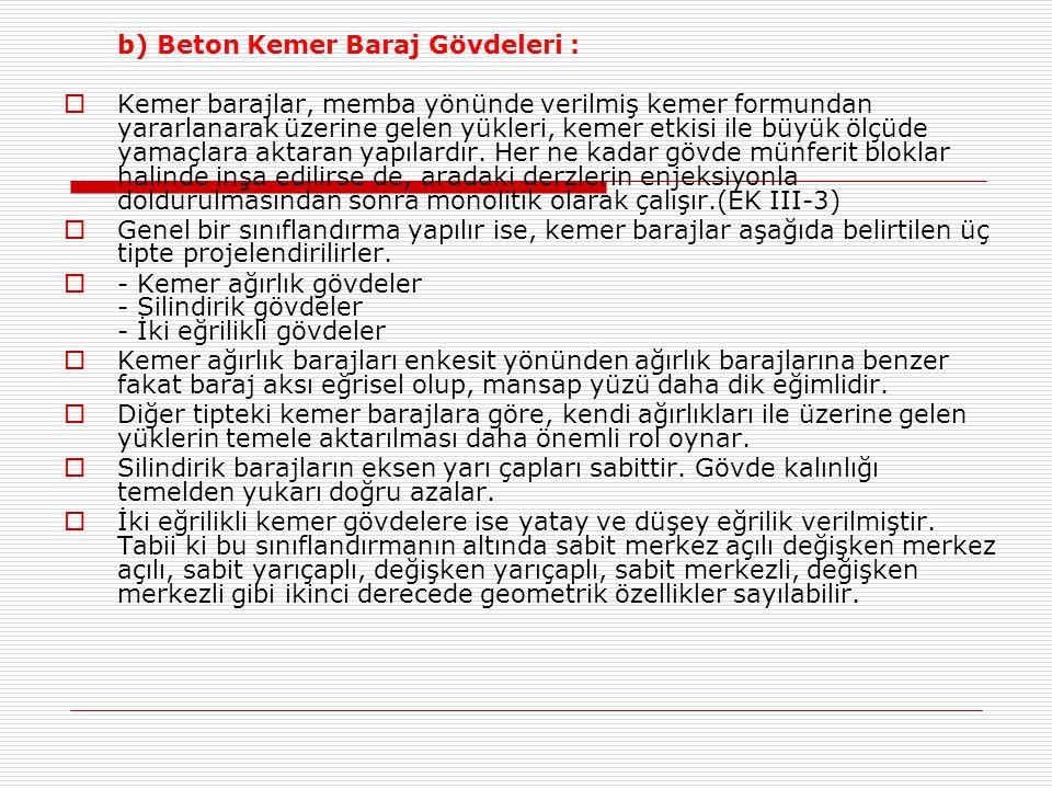 b) Beton Kemer Baraj Gövdeleri :