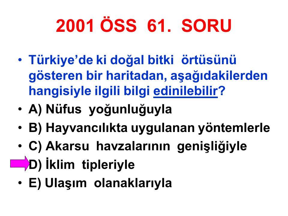 2001 ÖSS 61. SORU Türkiye'de ki doğal bitki örtüsünü gösteren bir haritadan, aşağıdakilerden hangisiyle ilgili bilgi edinilebilir