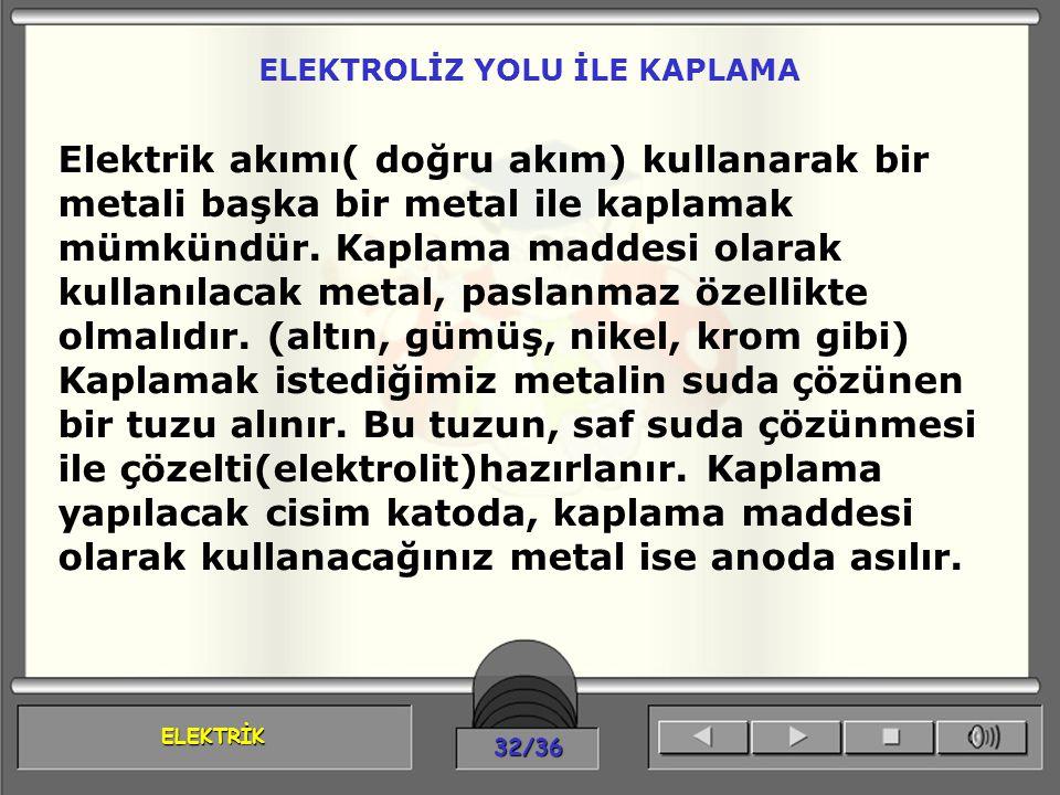 ELEKTROLİZ YOLU İLE KAPLAMA