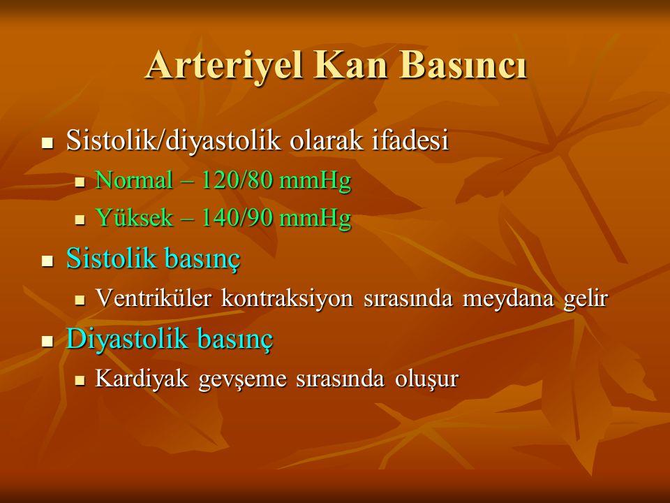 Arteriyel Kan Basıncı Sistolik/diyastolik olarak ifadesi