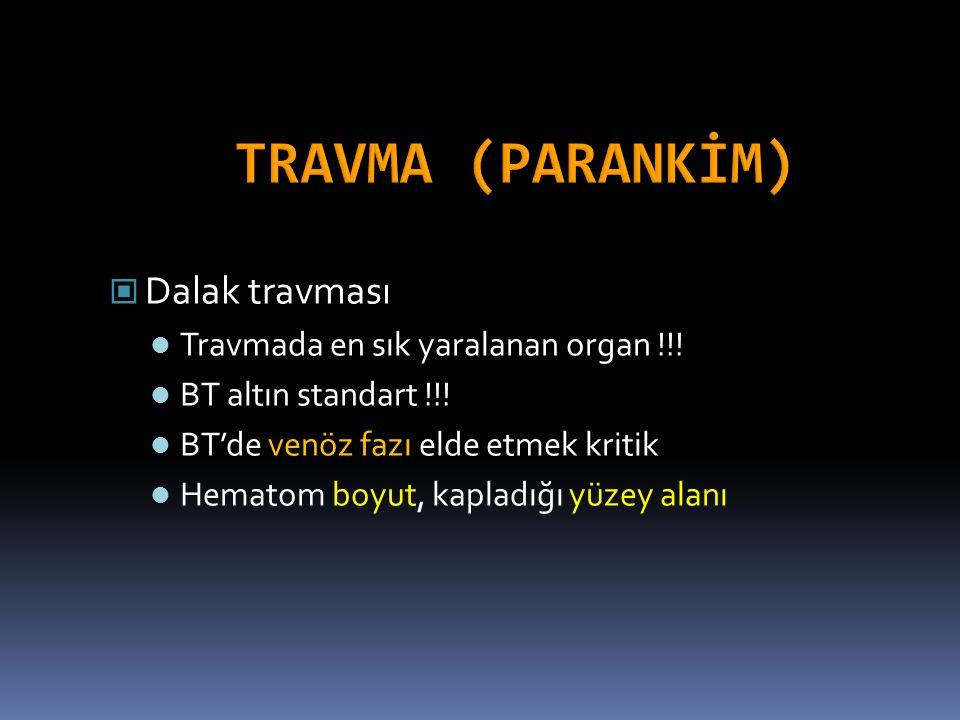 TRAVMA (PARANKİM) Dalak travması Travmada en sık yaralanan organ !!!