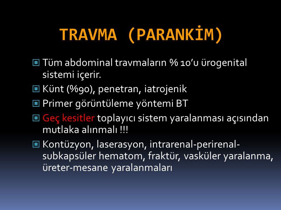 TRAVMA (PARANKİM) Tüm abdominal travmaların % 10'u ürogenital sistemi içerir. Künt (%90), penetran, iatrojenik.