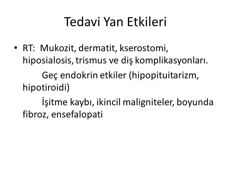 Tedavi Yan Etkileri RT: Mukozit, dermatit, kserostomi, hiposialosis, trismus ve diş komplikasyonları.