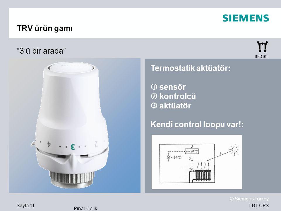 Termostatik aktüatör:  sensör  kontrolcü  aktüatör