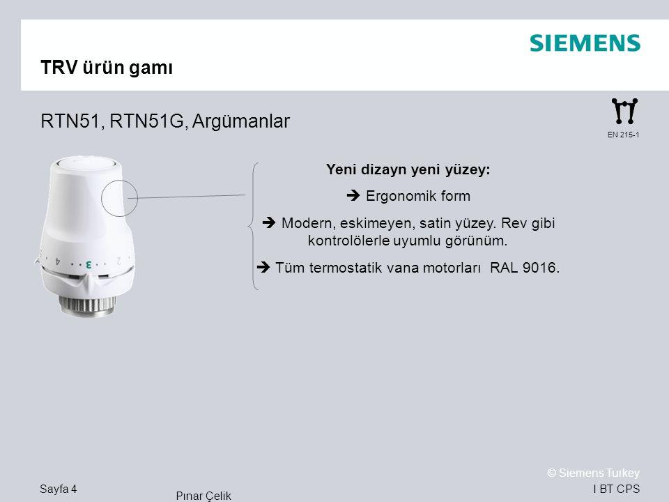 TRV ürün gamı RTN51, RTN51G, Argümanlar Yeni dizayn yeni yüzey: