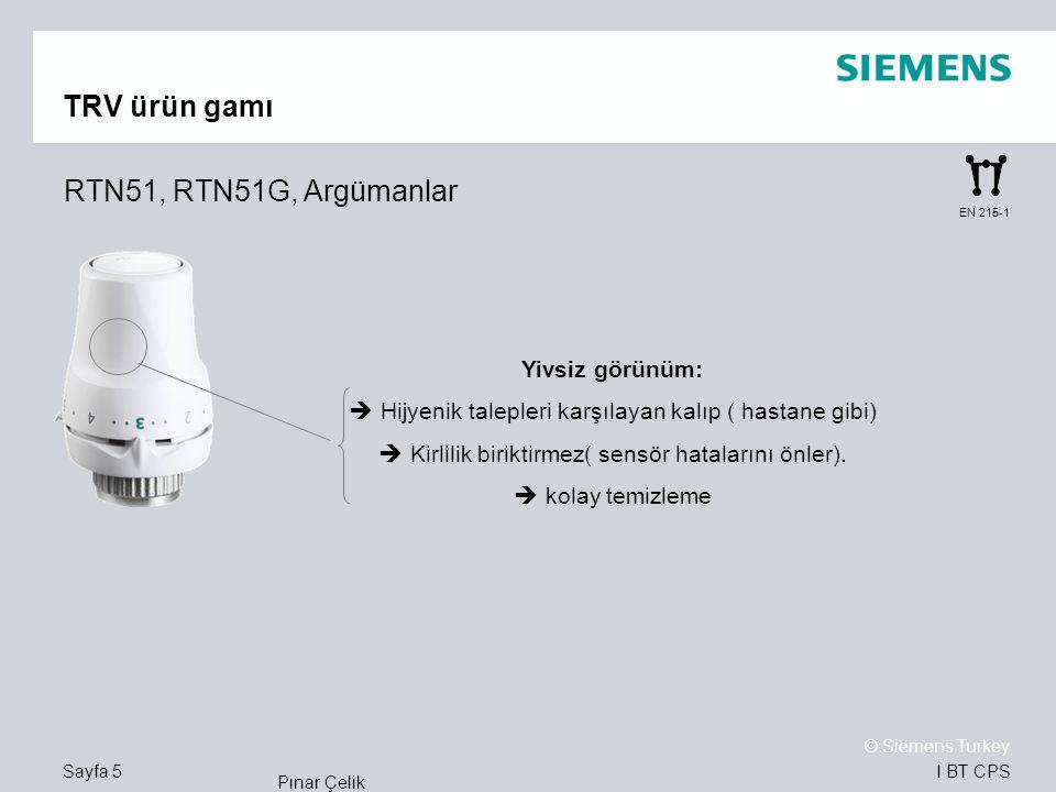 TRV ürün gamı RTN51, RTN51G, Argümanlar Yivsiz görünüm: