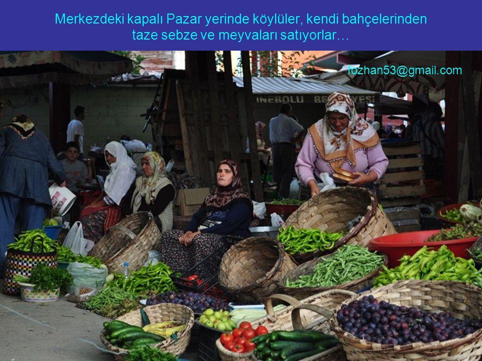 Merkezdeki kapalı Pazar yerinde köylüler, kendi bahçelerinden taze sebze ve meyvaları satıyorlar…