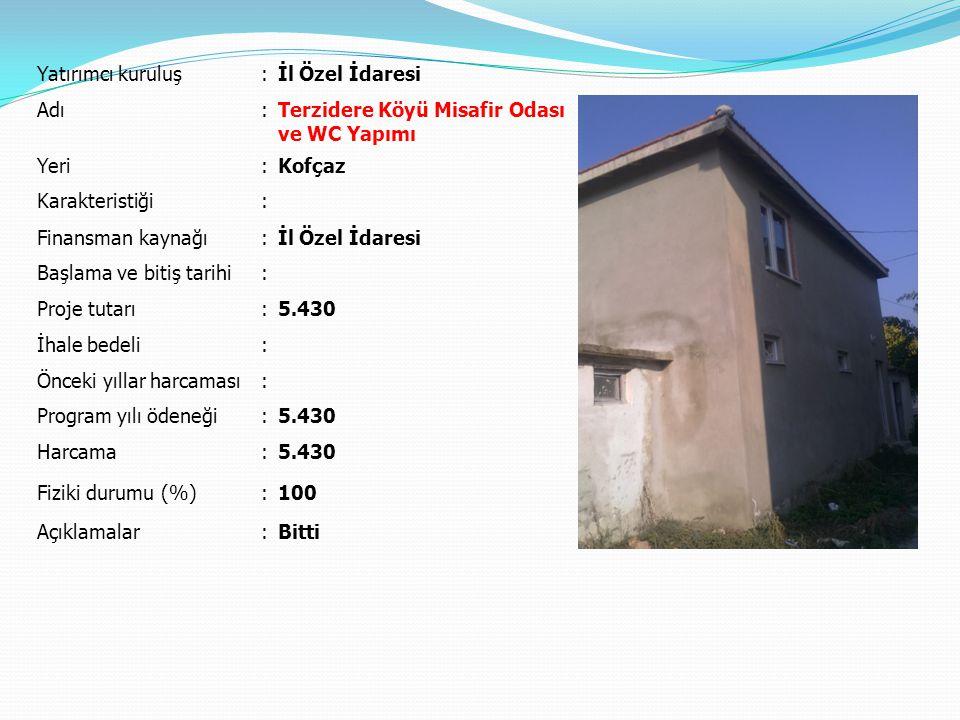 Yatırımcı kuruluş : İl Özel İdaresi. Adı. Terzidere Köyü Misafir Odası ve WC Yapımı. Yeri. Kofçaz.