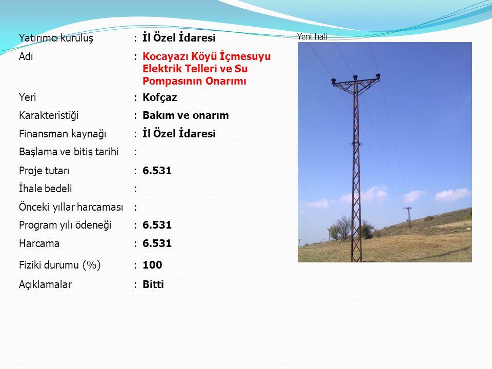 Kocayazı Köyü İçmesuyu Elektrik Telleri ve Su Pompasının Onarımı
