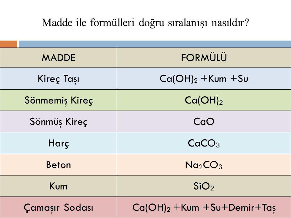 Madde ile formülleri doğru sıralanışı nasıldır MADDE FORMÜLÜ