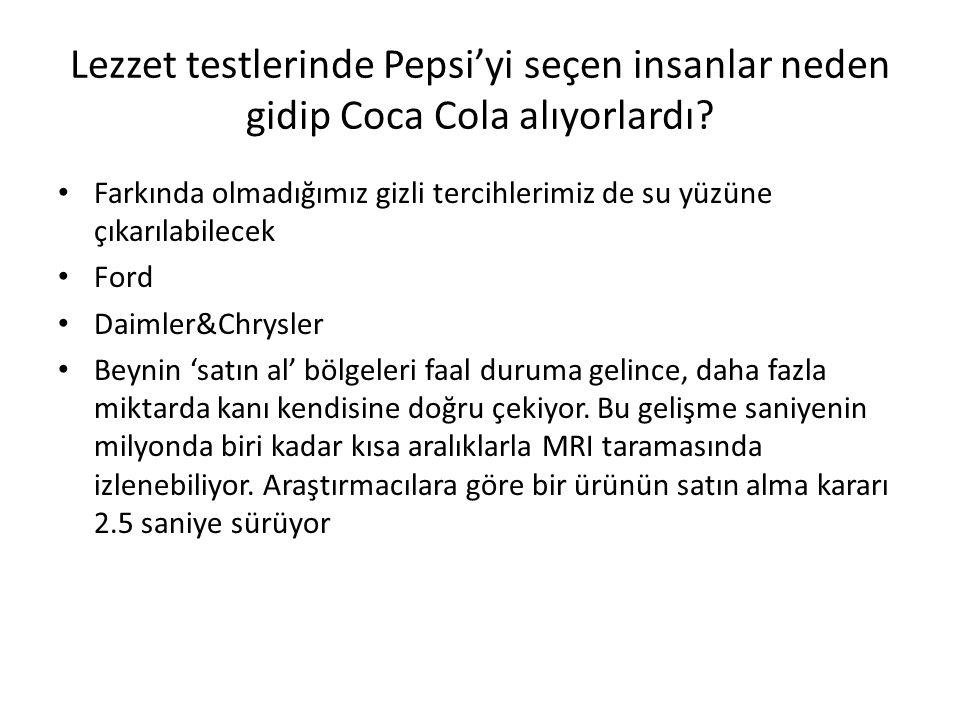 Lezzet testlerinde Pepsi'yi seçen insanlar neden gidip Coca Cola alıyorlardı
