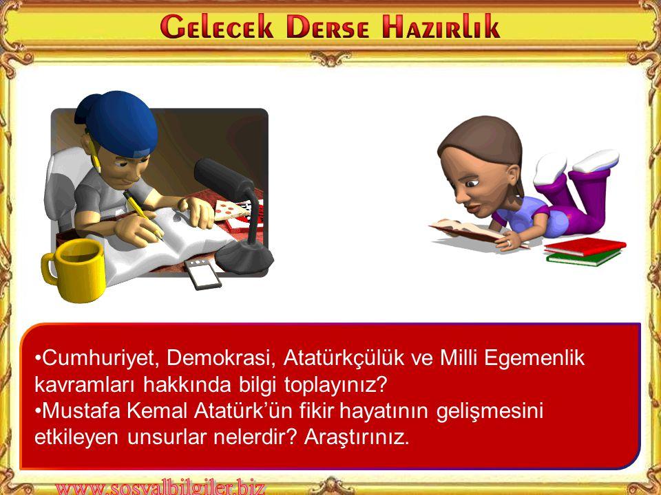 Cumhuriyet, Demokrasi, Atatürkçülük ve Milli Egemenlik kavramları hakkında bilgi toplayınız