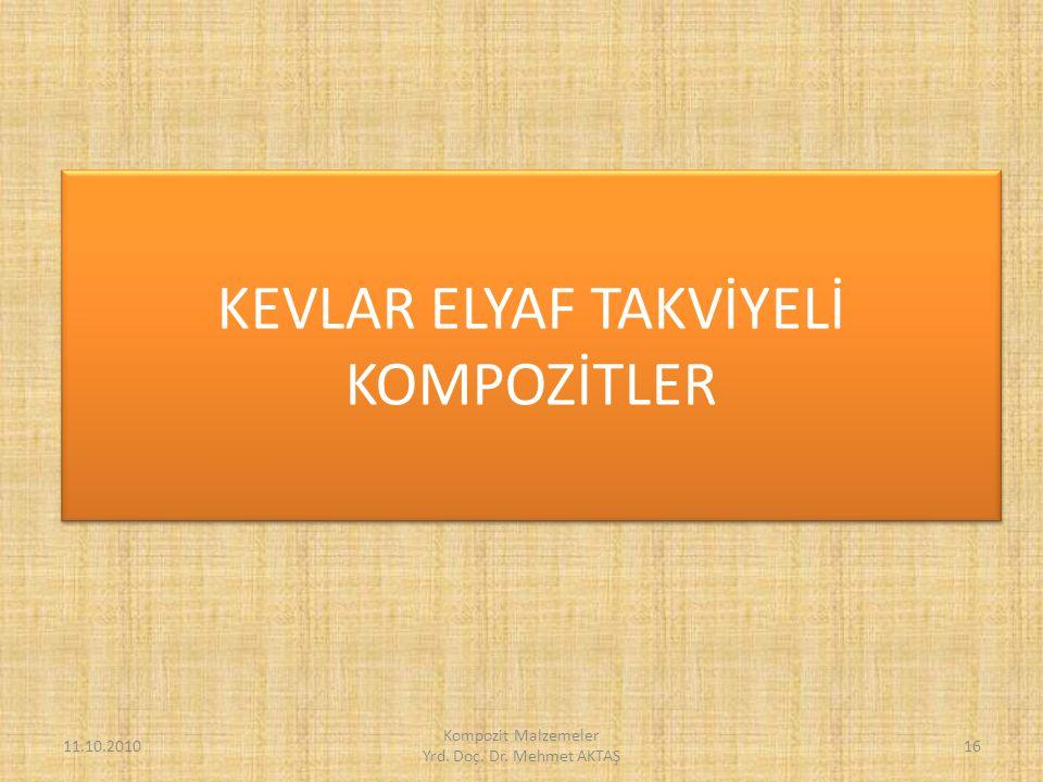 KEVLAR ELYAF TAKVİYELİ KOMPOZİTLER