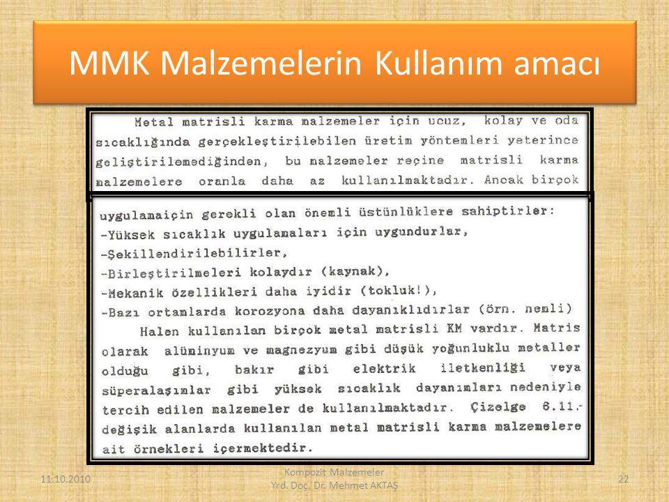 MMK Malzemelerin Kullanım amacı