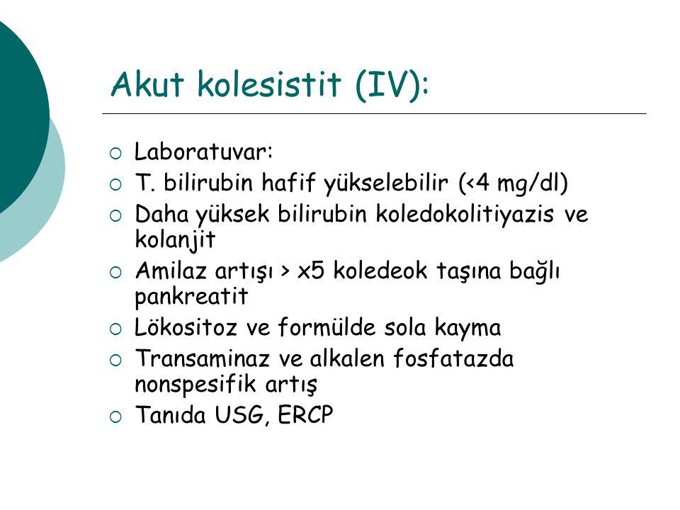 Akut kolesistit (IV): Laboratuvar: