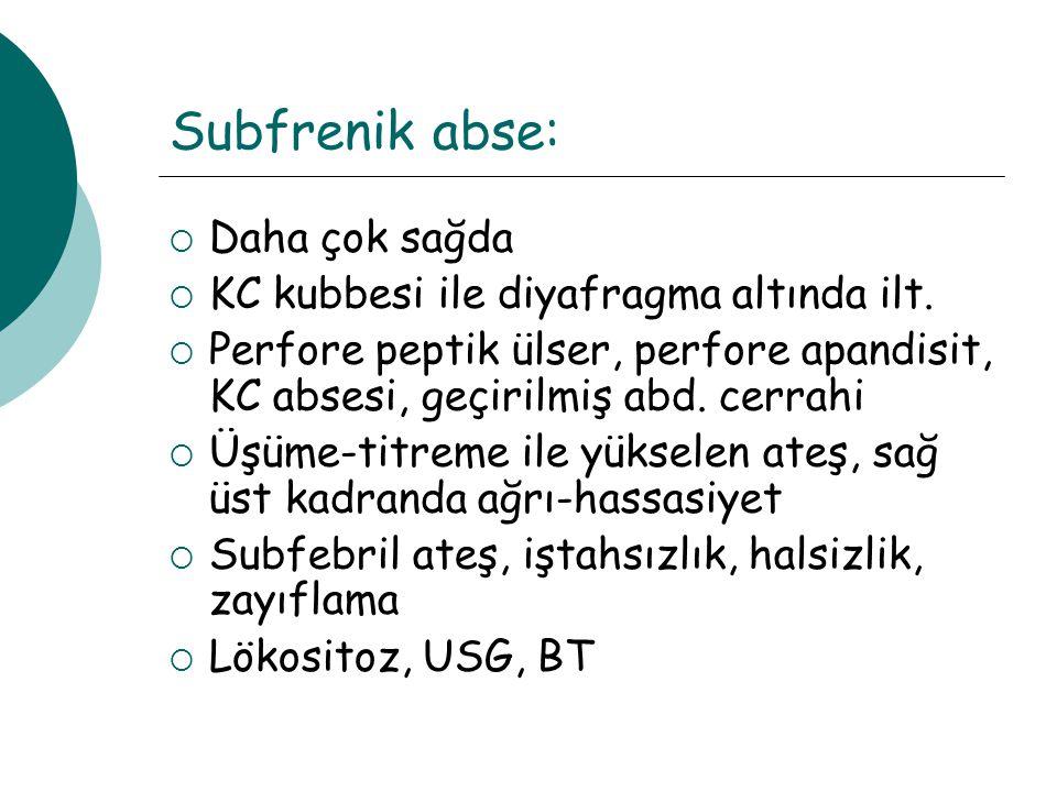 Subfrenik abse: Daha çok sağda KC kubbesi ile diyafragma altında ilt.