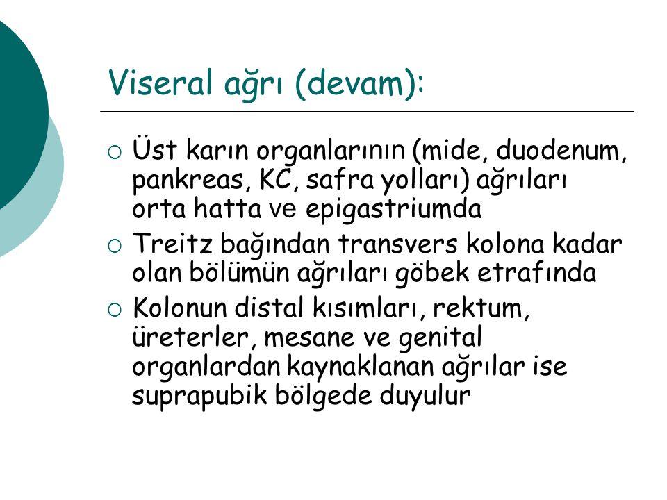 Viseral ağrı (devam): Üst karın organlarının (mide, duodenum, pankreas, KC, safra yolları) ağrıları orta hatta ve epigastriumda.