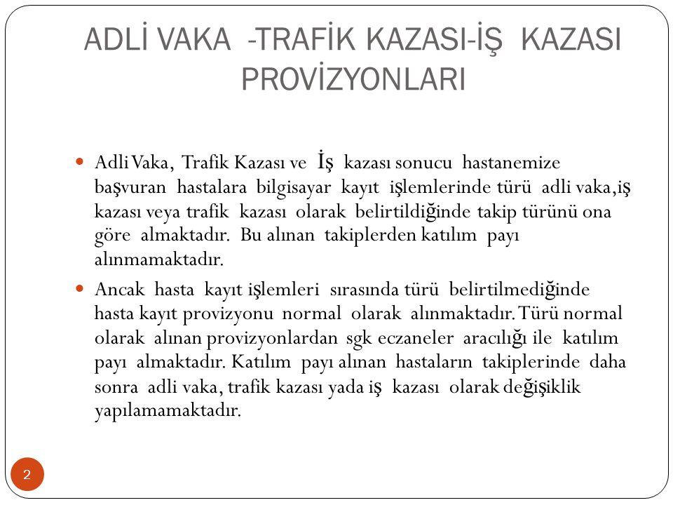 ADLİ VAKA -TRAFİK KAZASI-İŞ KAZASI PROVİZYONLARI