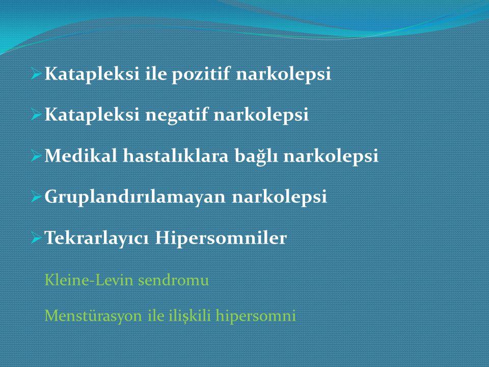 Katapleksi ile pozitif narkolepsi Katapleksi negatif narkolepsi
