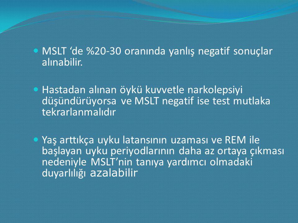 MSLT 'de %20-30 oranında yanlış negatif sonuçlar alınabilir.