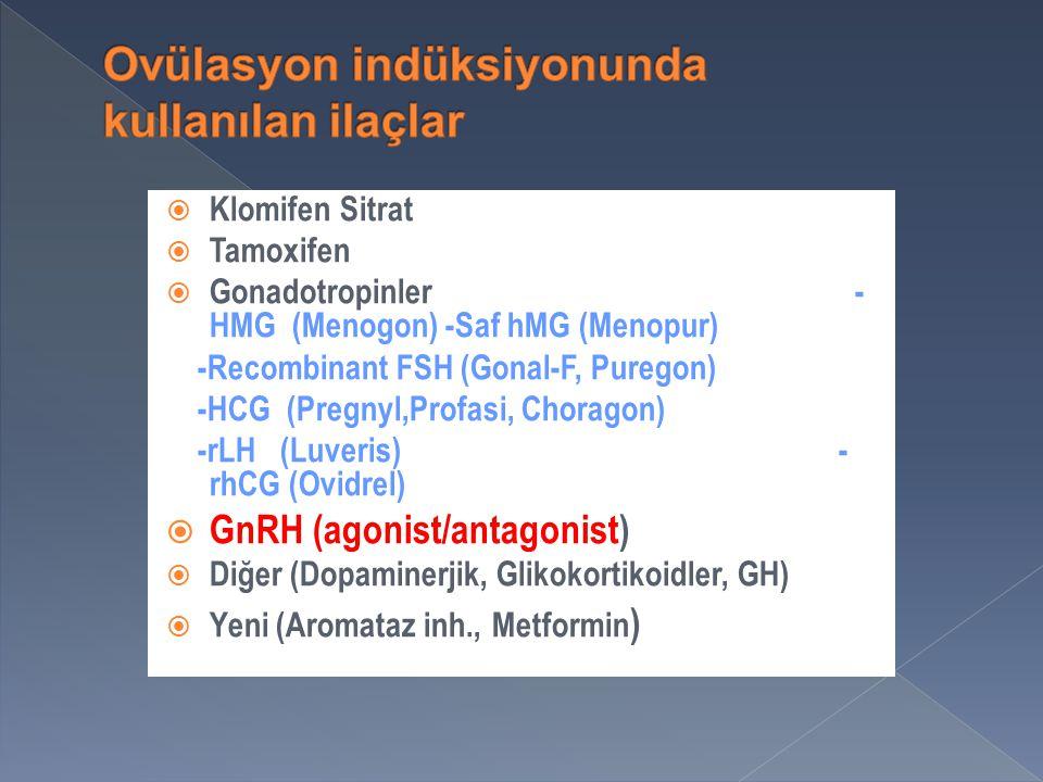 Ovülasyon indüksiyonunda kullanılan ilaçlar