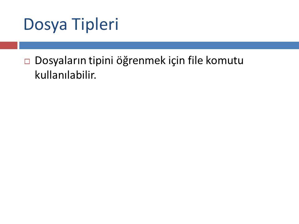 Dosya Tipleri Dosyaların tipini öğrenmek için file komutu kullanılabilir.