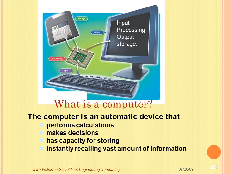 What is a computer The computer is an automatic device that