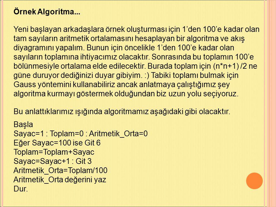 Örnek Algoritma...