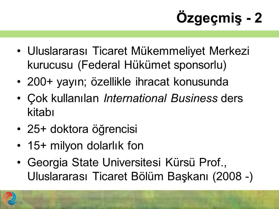 Özgeçmiş - 2 Uluslararası Ticaret Mükemmeliyet Merkezi kurucusu (Federal Hükümet sponsorlu) 200+ yayın; özellikle ihracat konusunda.