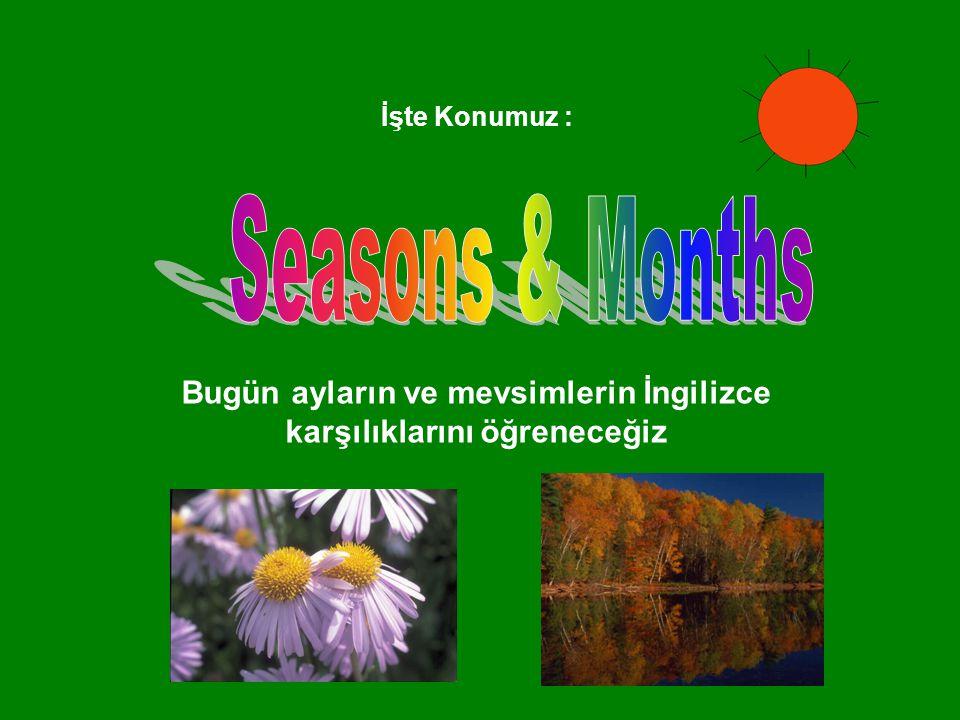 Bugün ayların ve mevsimlerin İngilizce karşılıklarını öğreneceğiz